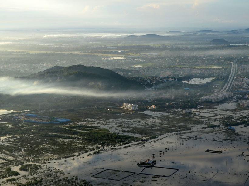 Aerial photo of Chennai, India, flooded