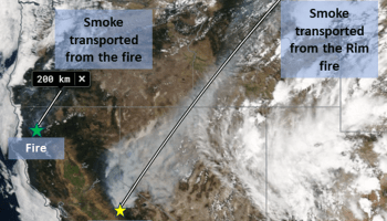 A map of the western United States showing smoke transported after fires in August 2013