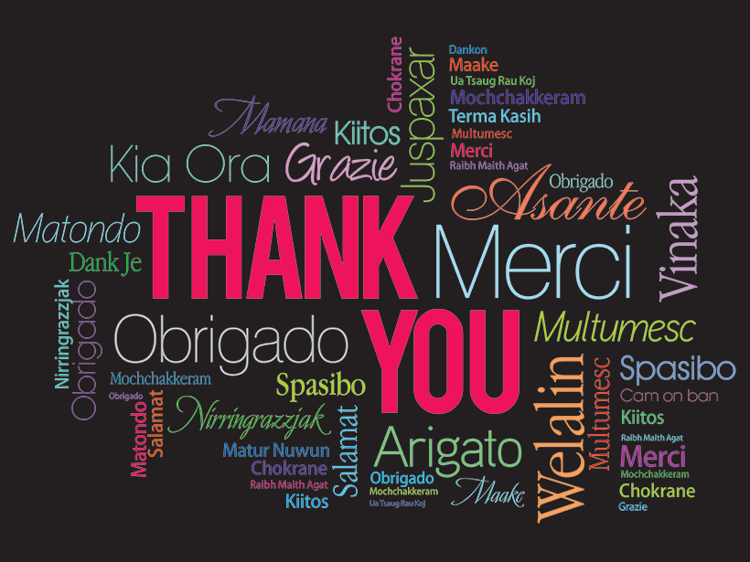 Thank you word cloud in many different languages