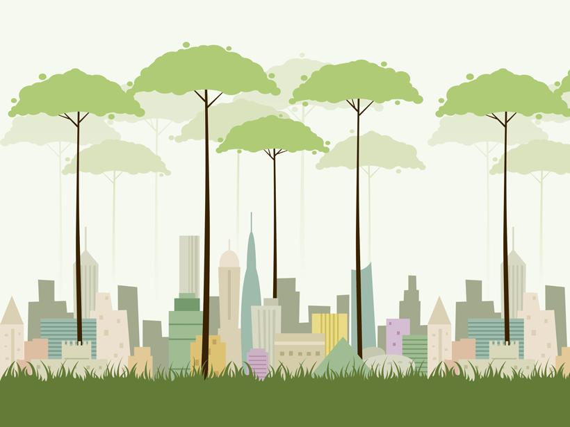 una ilustración de árboles más altos que la ciudad