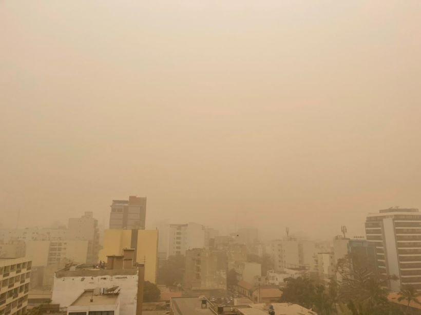 Sky full of dust over Dakar, capital city of Senegal.