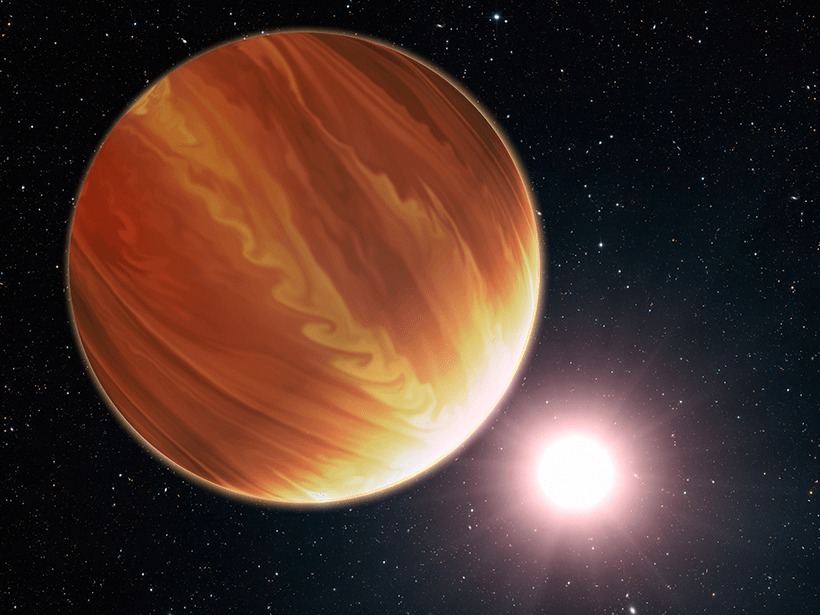 This illustration shows an exoplanet orbiting its much brighter star.