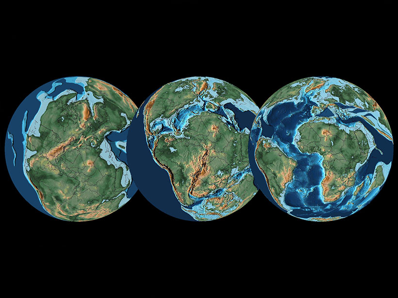 During the Mesozoic, the fragmentation of Pangaea contributed to long-term climate trends.