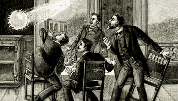 Four men at a dining table show surprise as a ball of lightning shoots in through a window.