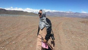 Munazza Alam walks through the Atacama Desert near Las Campanas Observatory in Chile.