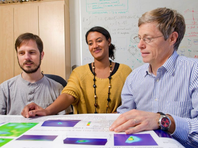 Research scientists Walter Landry, Kristel Chanard, and Jean-Philippe Avouac.