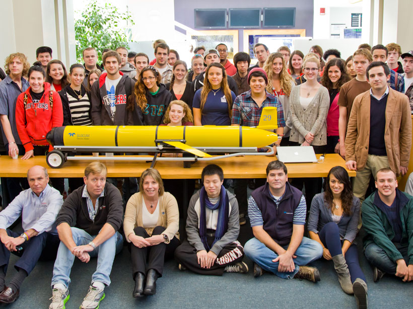 Zdenka Willis and Rutgers students with an ocean glider.