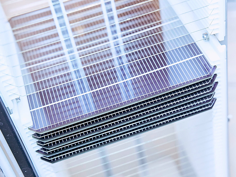 Trays of perovskite silicon solar cells sit in a clear laboratory case.