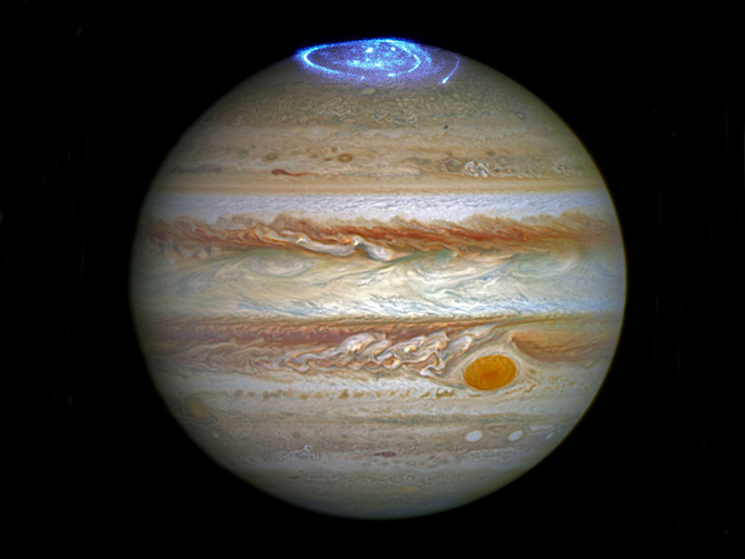 The location of Jupiter's northern aurorae, as seen by the Hubble Space Telescope