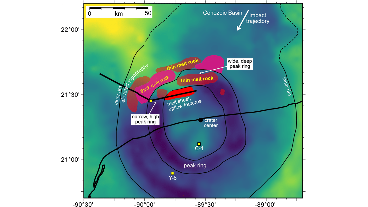 Location of the buried peak ring of the Chicxulub crater and inferred pool impact melt reported on a Bouguer gravity anomaly map.