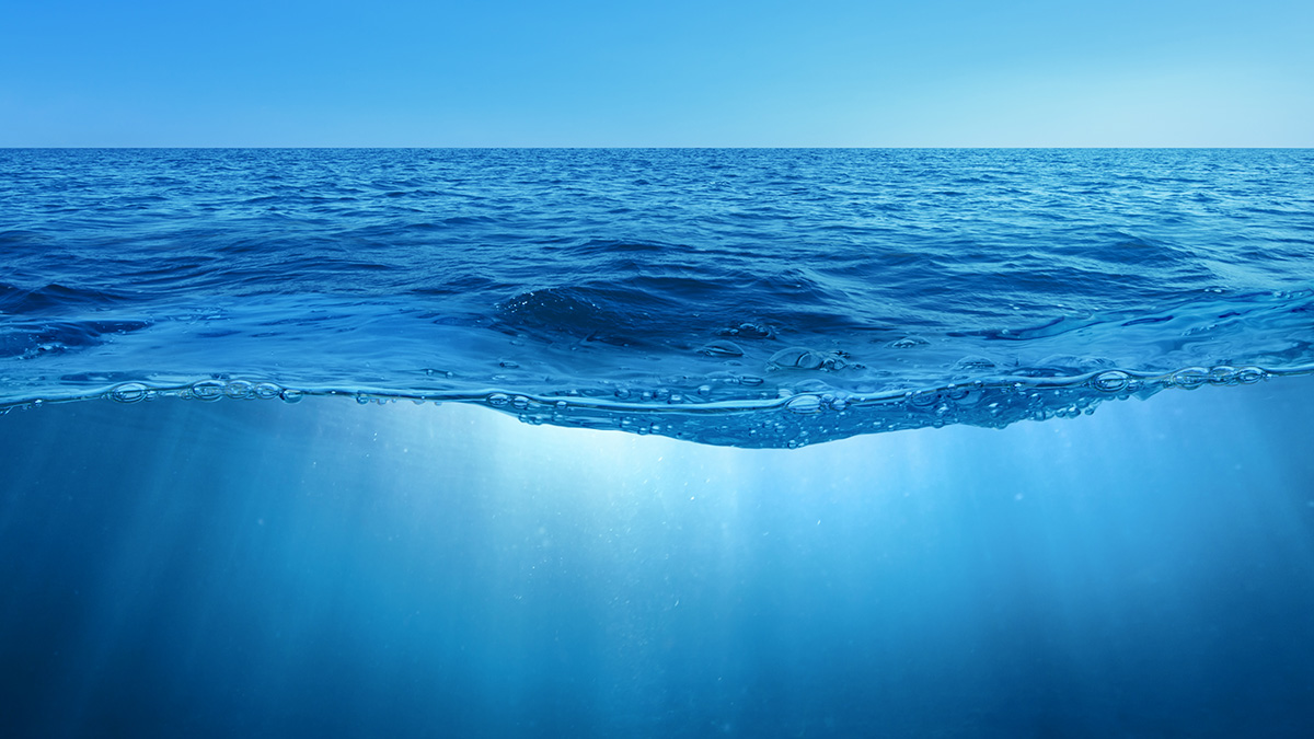 Image showing water above and below the ocean surface
