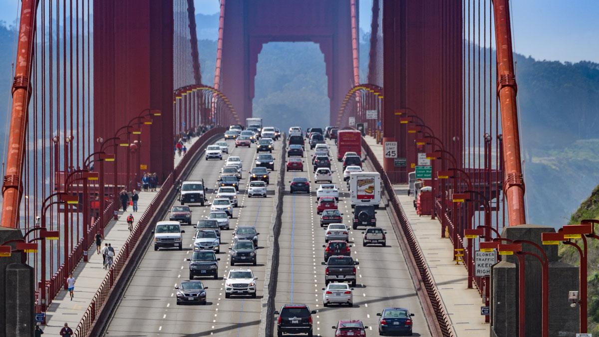 Cars on the Golden Gate Bridge