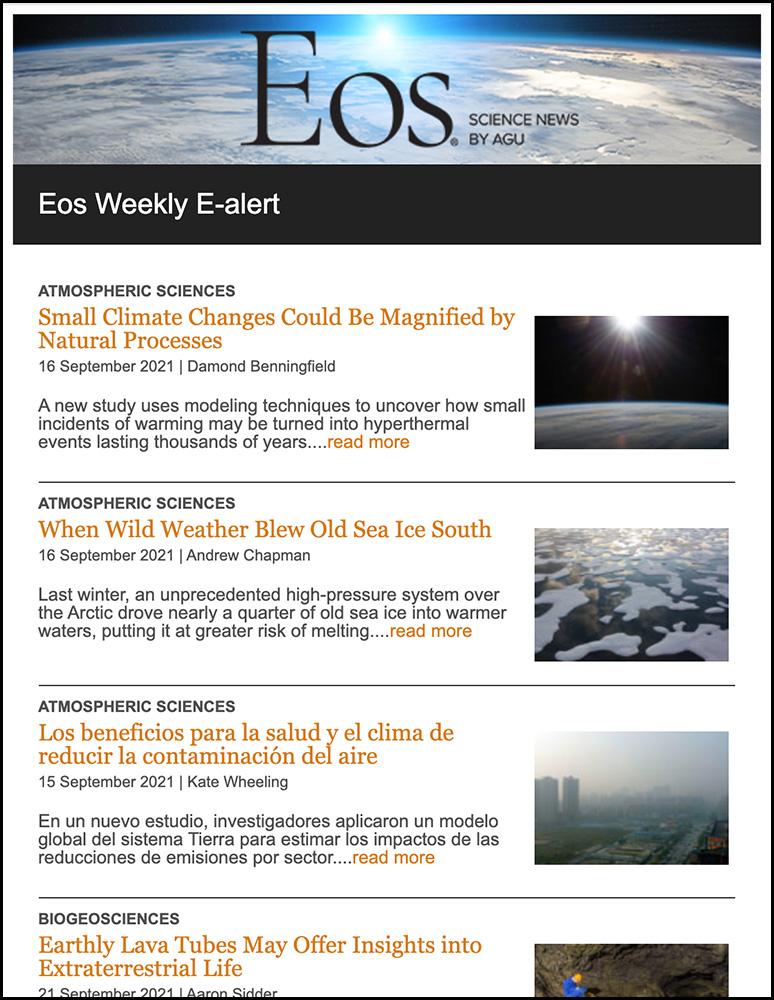 Eos e-alert newsletter