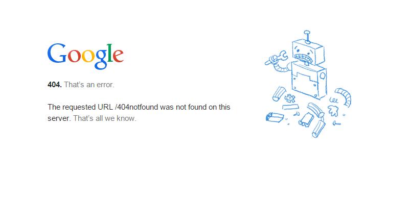 Esempio di pagina con il messaggio di errore 404 – collegamento interrotto
