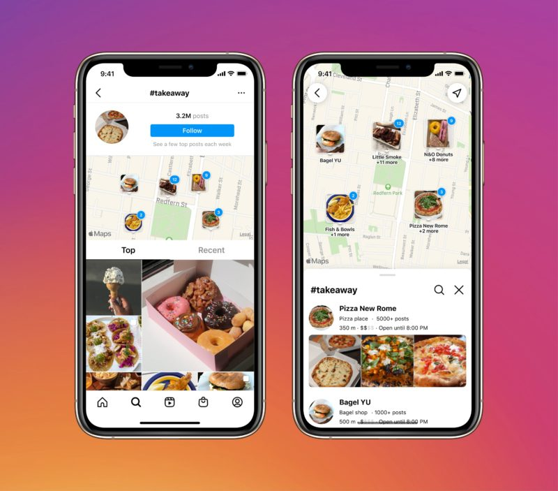 Instagram screenshots for the new map search feature