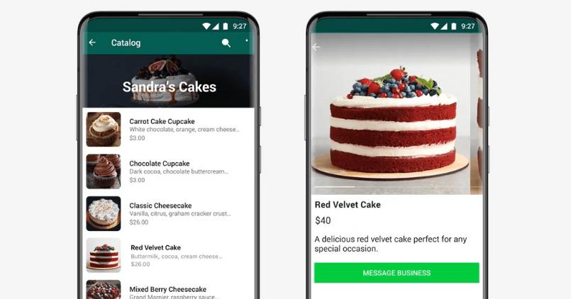 Screenshot del catalogo di una pasticceria su Whatsapp