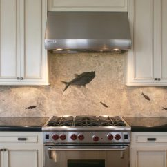 Natural Stone Backsplash Kitchen Polished Nickel Faucet Custom Fossil Backsplashes Countertops And More Eostone