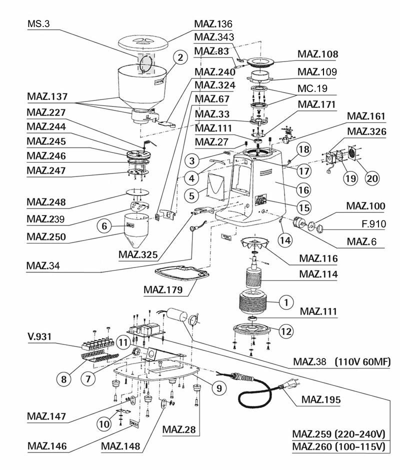 Mazzer Major E Grinder Parts
