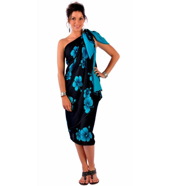 Hibiscus Flower Size Sarong In Aqua Blue Black