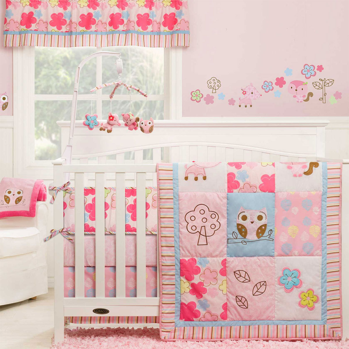 graco high chair coupon extended height office girl woodland 4 piece crib bedding set by kidsline