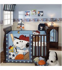 Lambs & Ivy Team Snoopy 5 Piece Crib Bedding Set