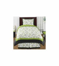 Sweet JoJo Designs Spirodot Lime & Black Twin Bedding Set