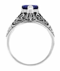 Filigree Edwardian Sapphire Promise Ring in Sterling Silver