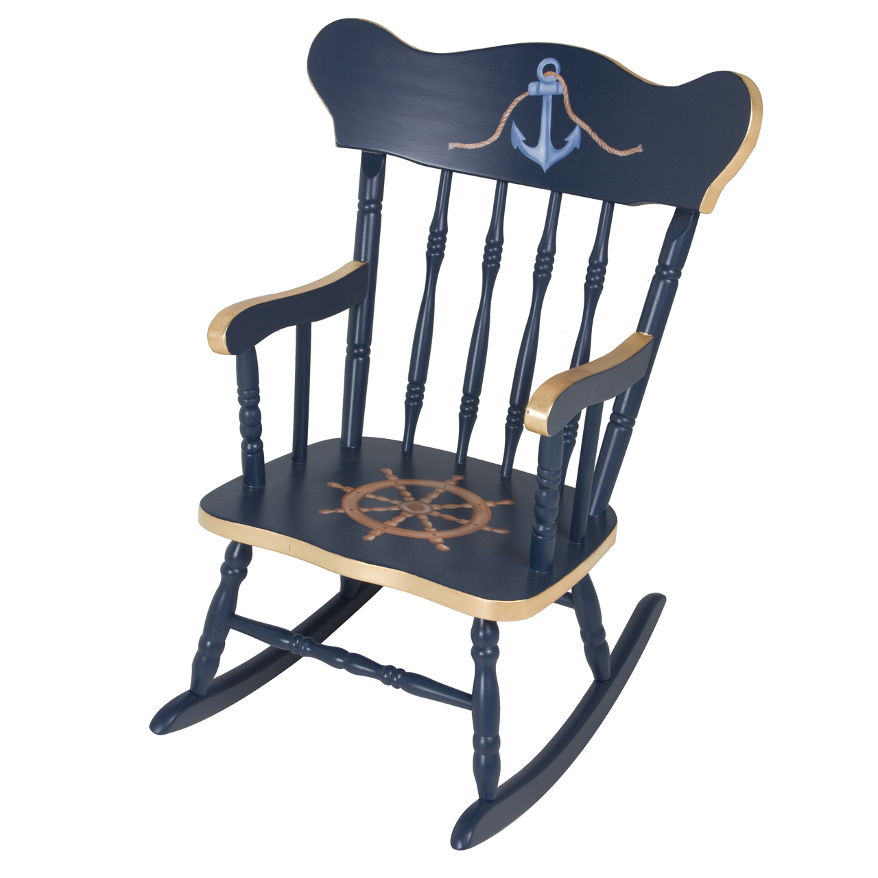 Navy Rocking Chair Child 39s Rocking Chair Navy And Gold Gilding
