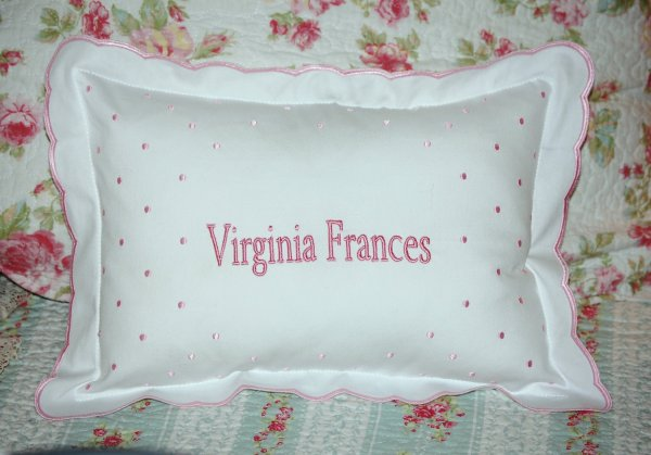 Scalloped Monogrammed Baby Pillow