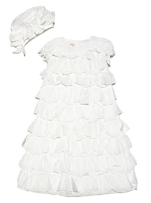 Baby Biscotti Infant Girls Antique White Voile Tiers of