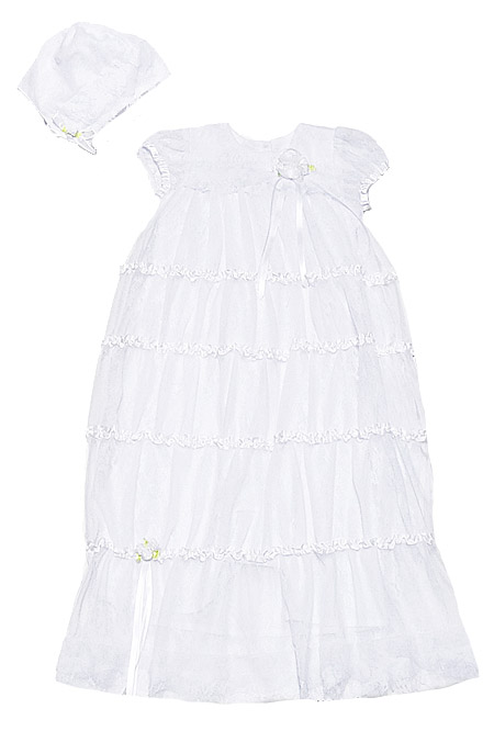 Biscotti Baby Infant Girls WHITE Christening Gown with Bonnet