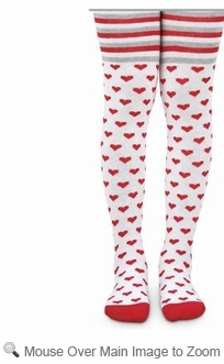 Jefferies Socks Girls White Tights With Stripes Amp Red