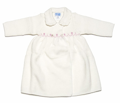 Luli & Me Ivory Knit Coat with Pink Embroidery