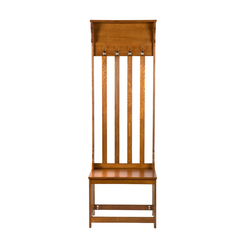 Mission Oak 72.5''H Hall Tree Entry Bench with Coat Rack