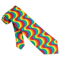Rainbow Swirl Multicolor Micro Tie Necktie Mens Holiday