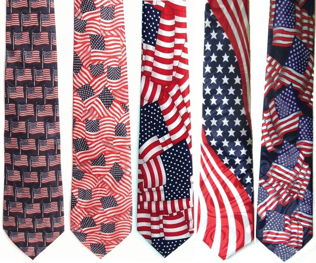 Waving American Flags Poly Patriotic Ties