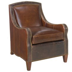 Leather Accent Chairs Grey Arm Chair Traditional Nail Head