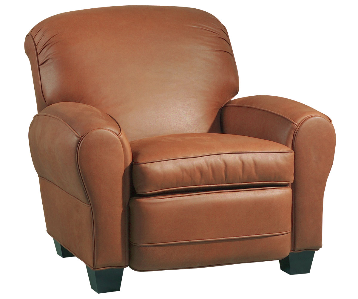 Classic Leather RollBack Club Chair Recliner w Cigar Arms