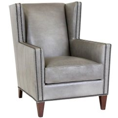 Nailhead Wingback Chair Black Metal Patio Chairs Wing Back Leather With Trim Club Furniture