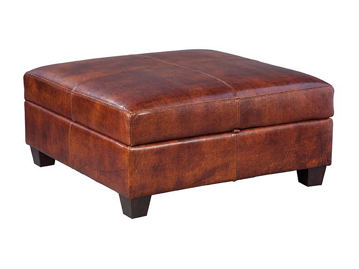 "Horace ""Quick Ship"" Square Leather Storage Ottoman"
