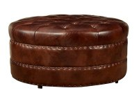 "Lockwood ""Quick Ship"" Round Tufted Leather Ottoman"