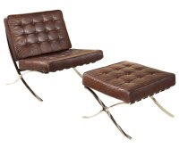 Leather Button Tufted Mid-Century Modern Chair w/ Optional ...