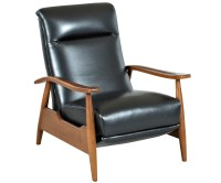 Mid-Century Leather Reclining Club Chair