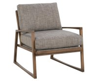 Mid Century Modern Fabric Chair With Carved Wood Frame