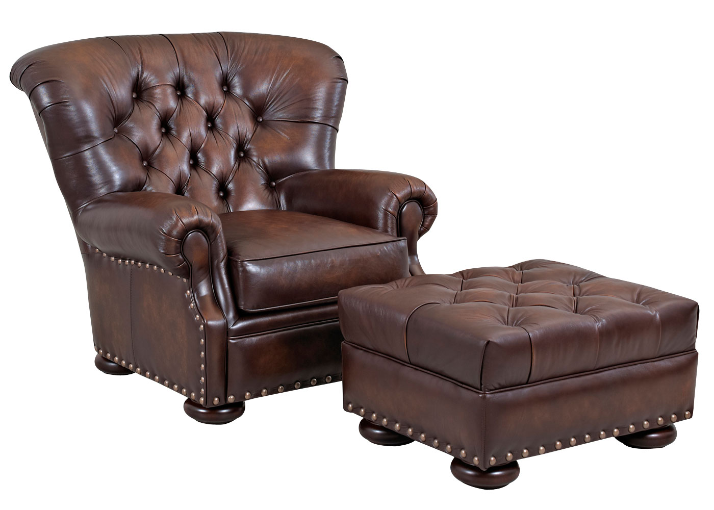 Large Tufted Back Leather Club Chair  Club Furniture