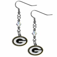 Green Bay Packers Crystal Dangle Earrings (F)