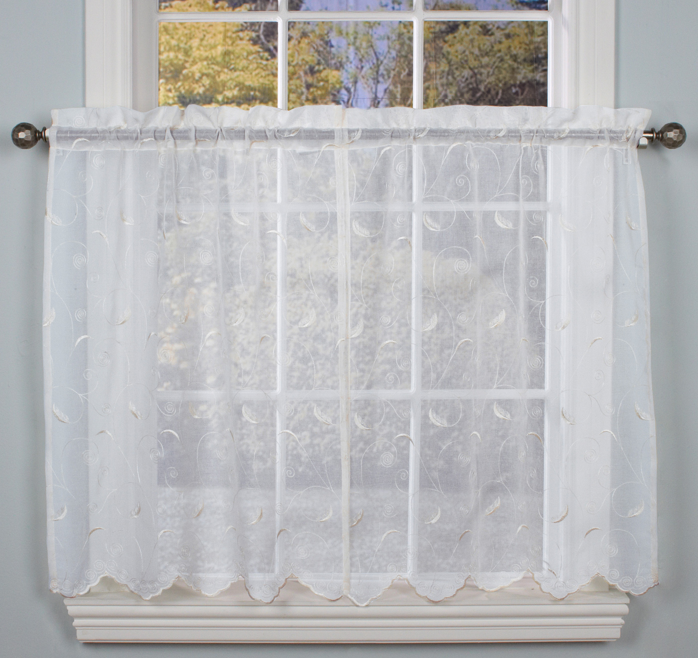 Hathaway Embroidered Semi Sheer Tailored Tier Curtains