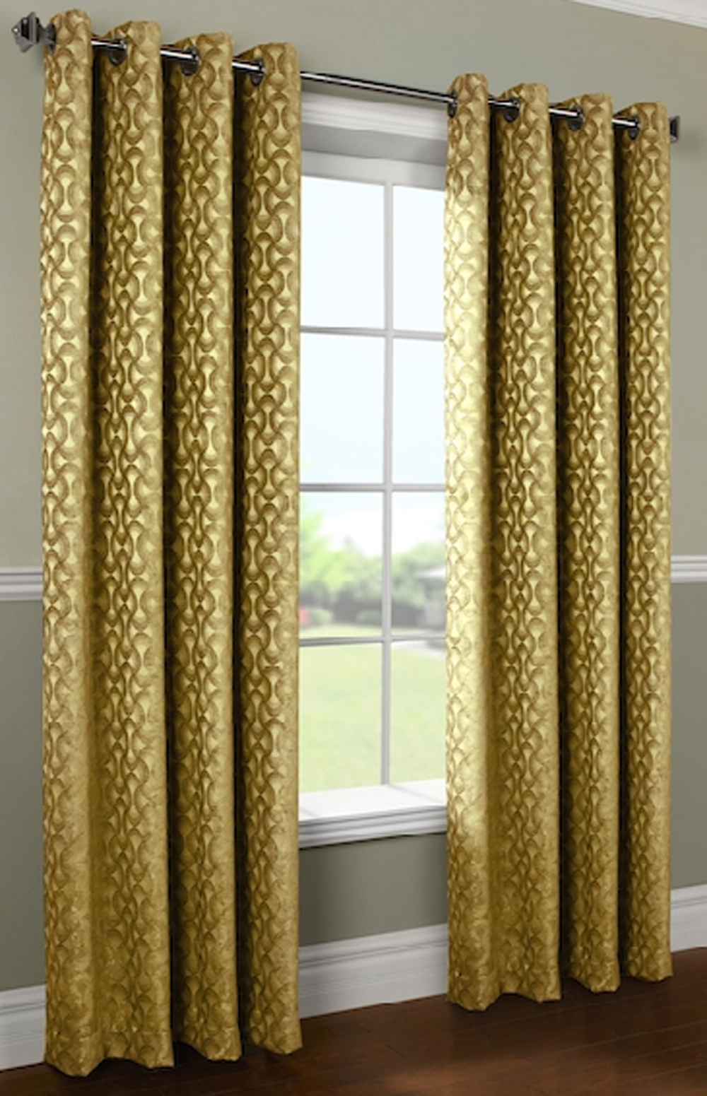 Rope Chenille Grommet Top Curtain Panel