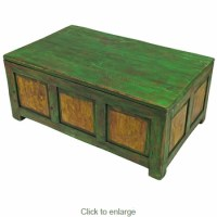 Painted Wood Trunk Coffee Table - Distressed Green & Yellow