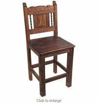 Rustic Wood Counter Height Bar Stool with Iron